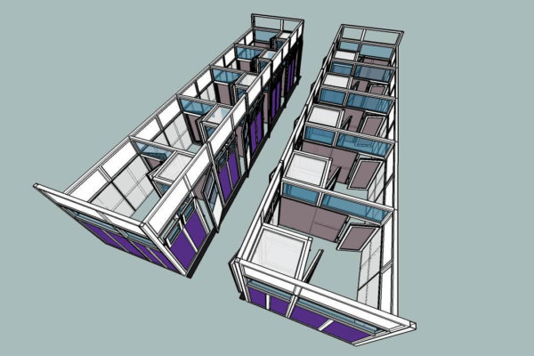 A CAD drawing of the Mayhew Kennel project